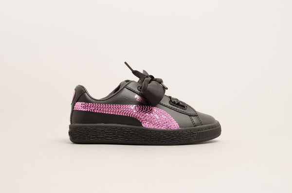 Puma Basket Heart Bling Pre-School ( Black / Orchid ) 366848-01
