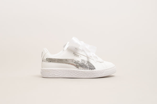 Puma Basket Heart Bling Pre-school ( White / Silver ) 366848-02