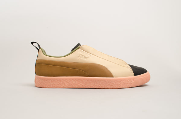 Puma Clyde FSHN Glow Naturel Brown Black Salmon Pink 364447-01