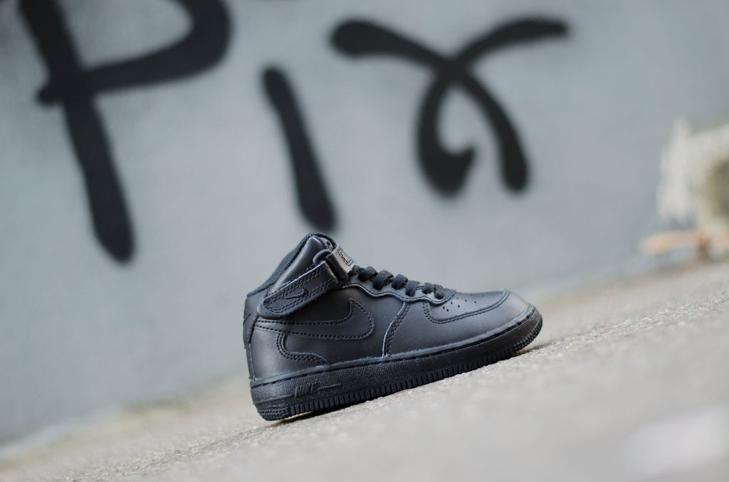 Sevensneakerstore.com Nike Force 1 Mid ( PS ) Black / Black 314196-004