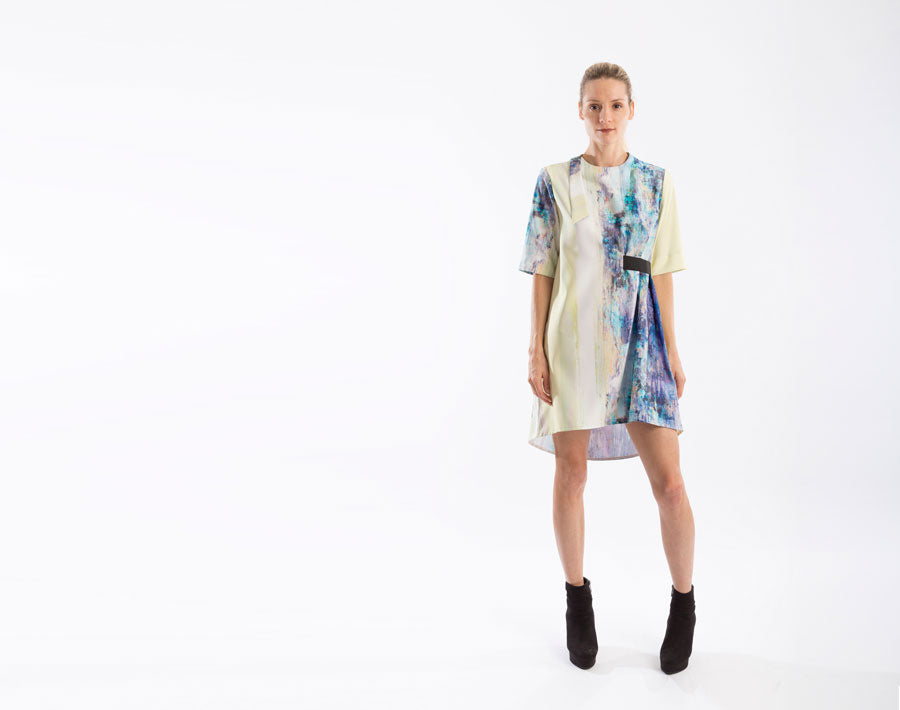 A Line Tunic Dress in watercolor print