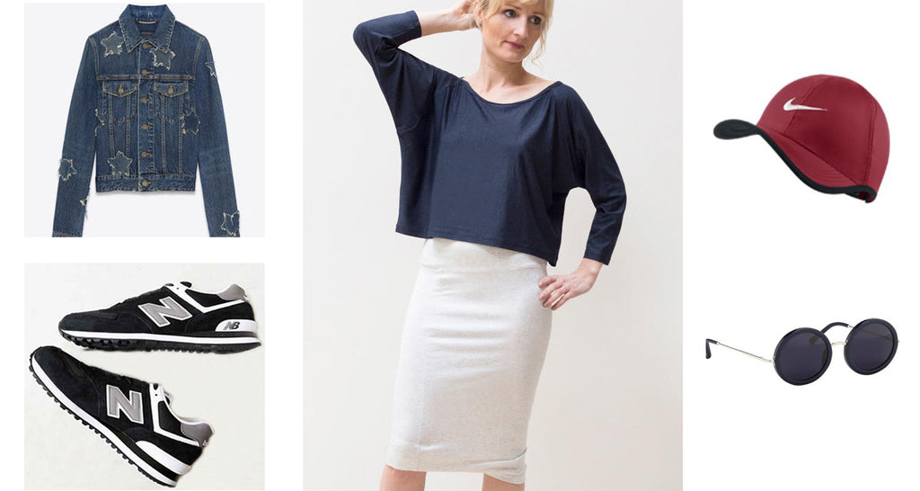 A white pencil skirt paired with a navy, cropped, dolman-sleeve top for a cool 4th of July.