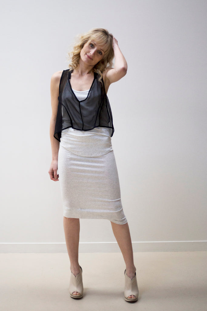 Cropped Top, Cascade Pencil Skirt, and Silk Vest