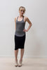 Grey Racerback Tank with front ribbon strap