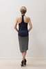 Navy Racerback Tank with ribbon detail.