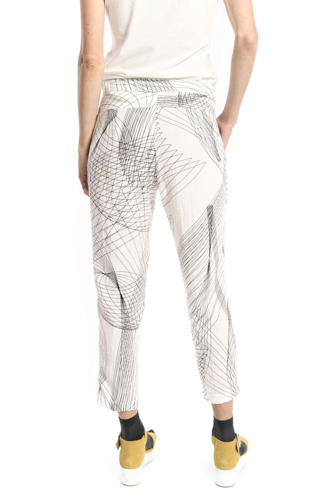 Ankle Straight Trouser Off-White Hologram Print