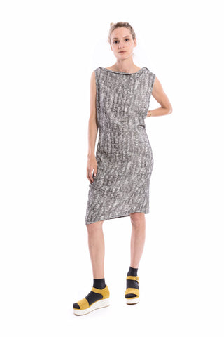 Origami Boat-Neck Dress in Black Baltic