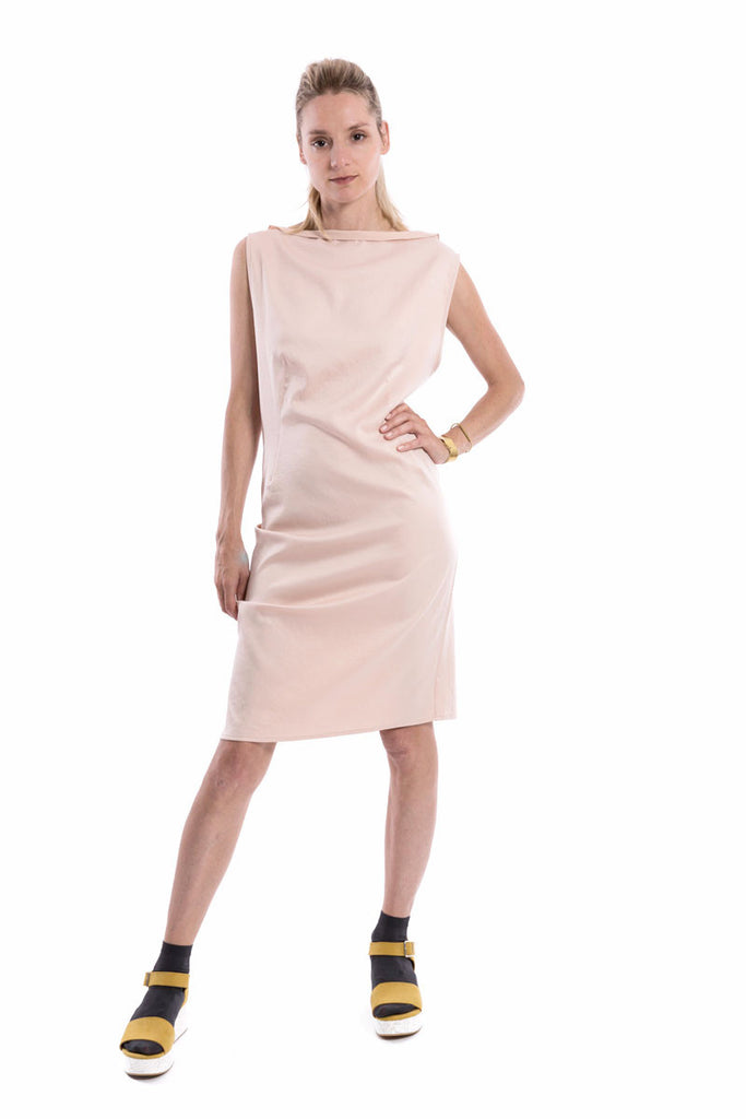 Origami Boat-Neck Dress Blush