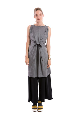 Ribbon Tie Dress Heather Grey