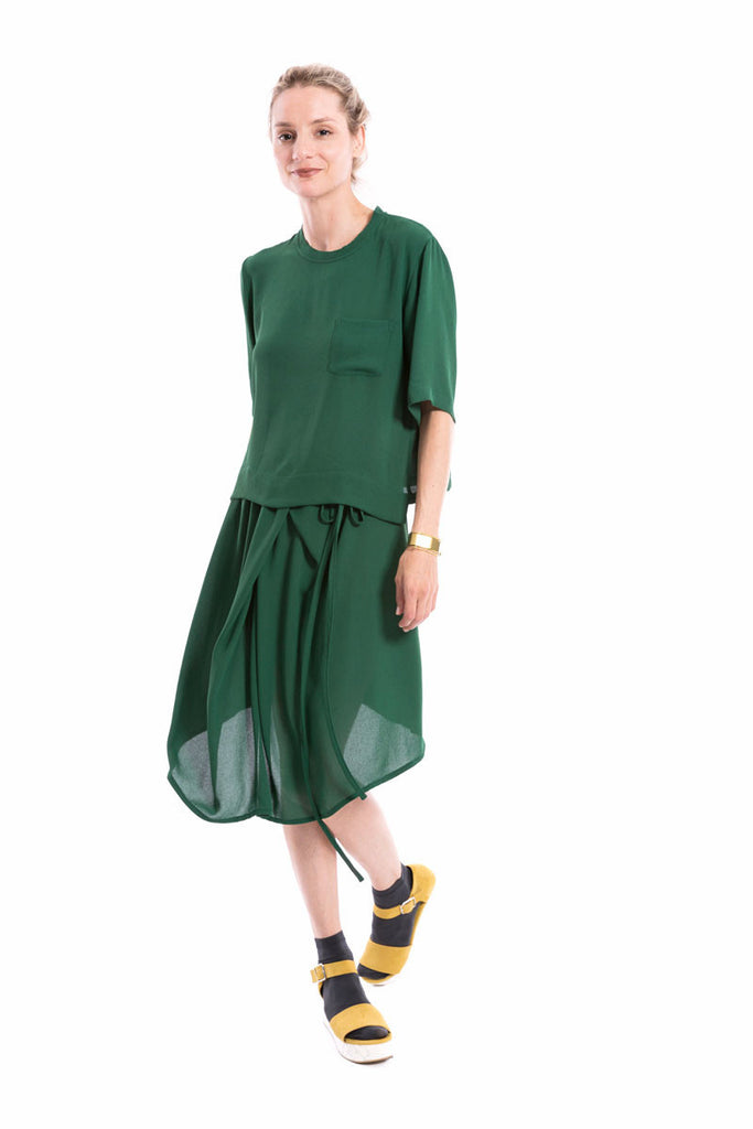 Drawstring Multi-Fold Skirt Kelly Green