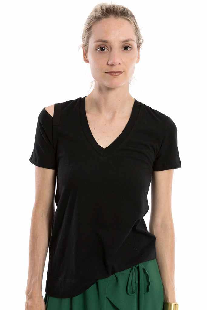 Slit Shoulder Tee Black