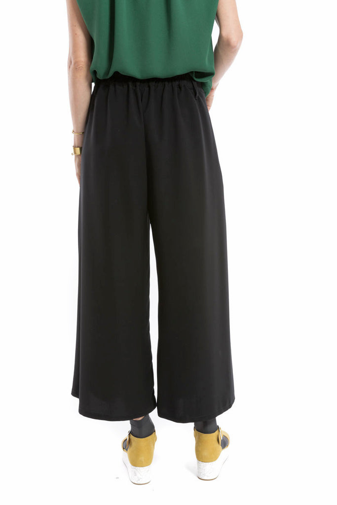 Wide Leg Fold Trouser Black