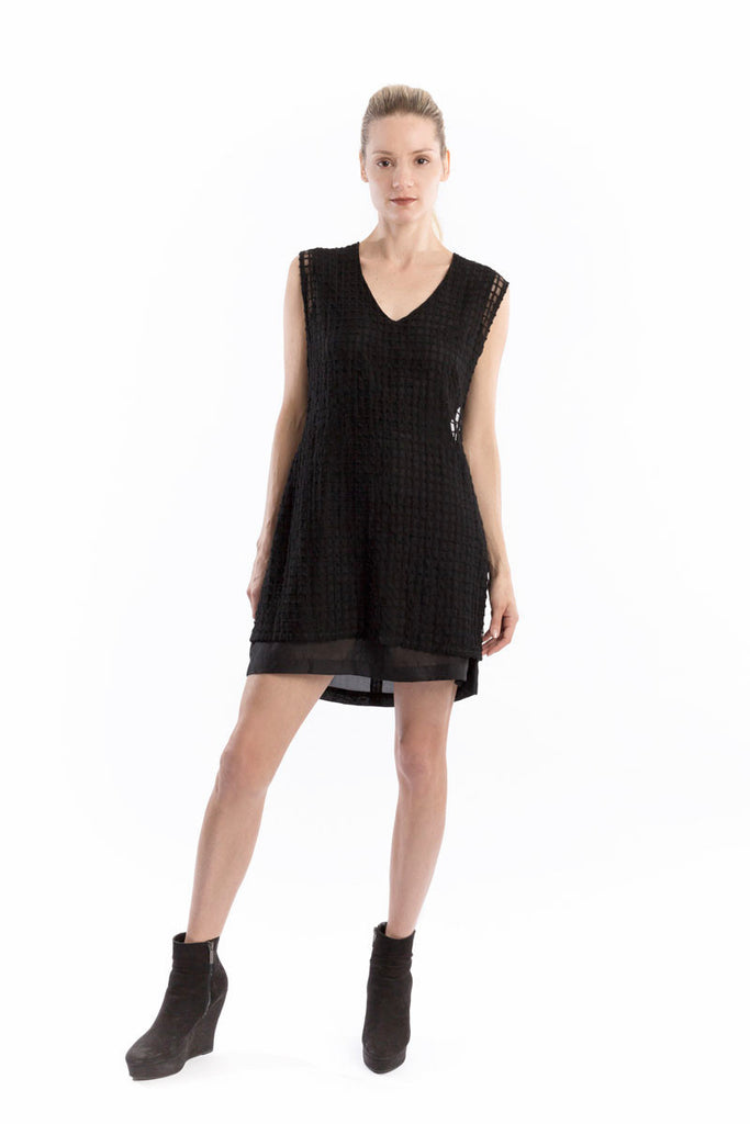 Bi-Level Shift Dress Windowpane Black