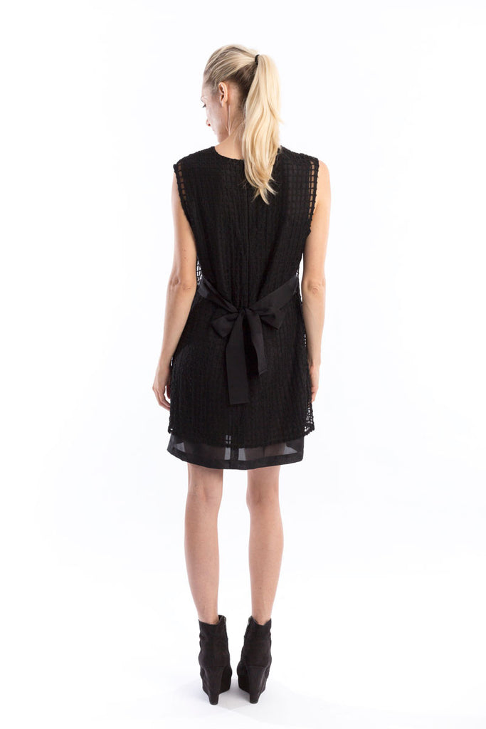 Windowpane Black Bi-Level Shift Dress