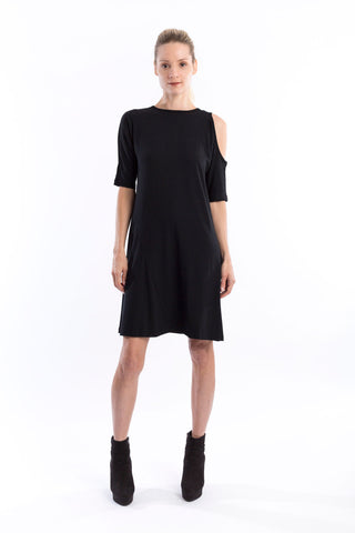 Open Shoulder Dress in Black