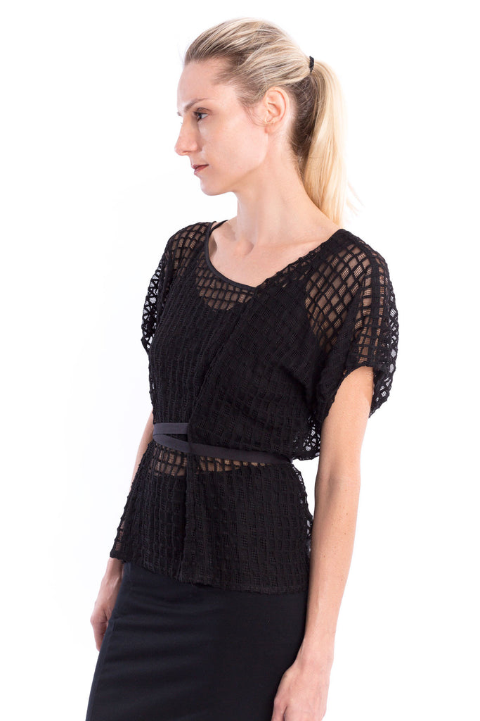 Windowpane Tucks Sleeve Top in Black