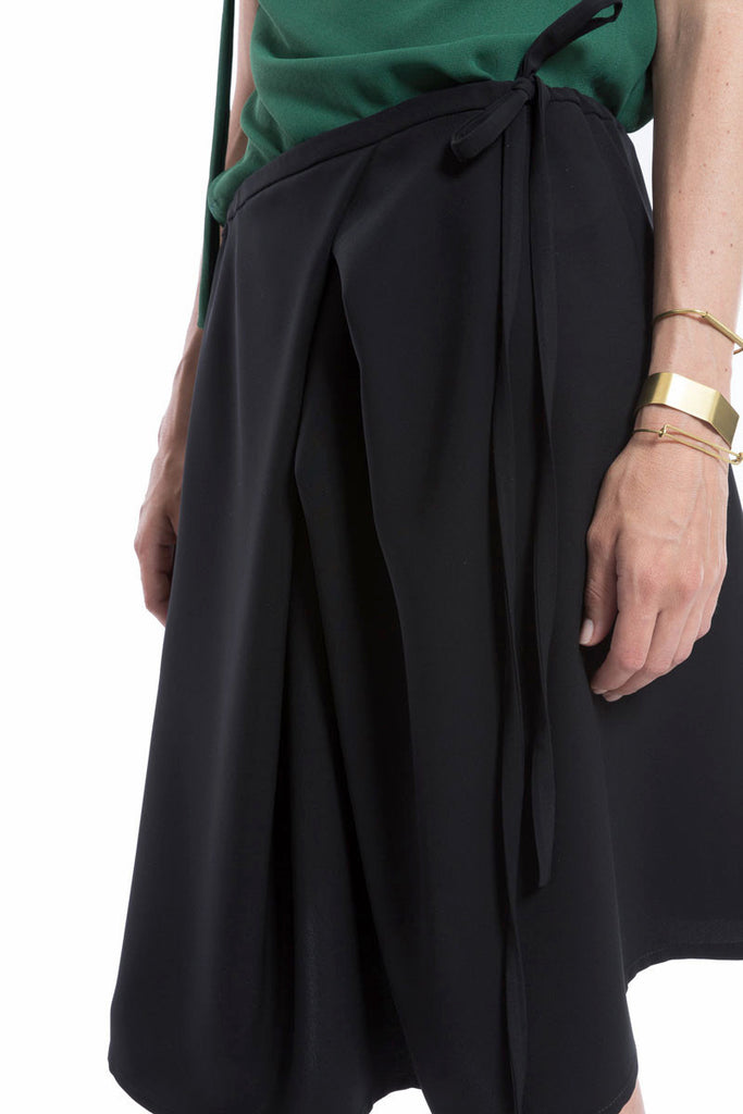 Drawstring Multi-Fold Skirt Black
