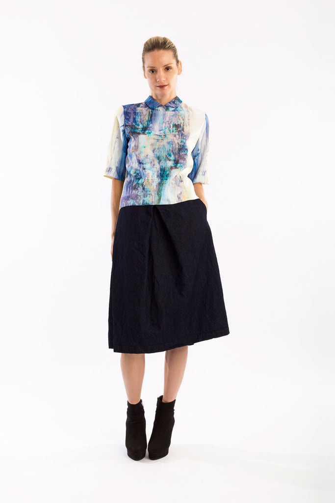 Paper Denim Pocket Midi Skirt