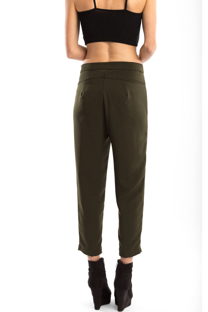 Ankle Straight Trouser Dark Olive