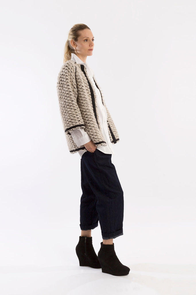 Sweater Cardie in Cream wool