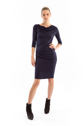 Side Tuck Dress in Navy