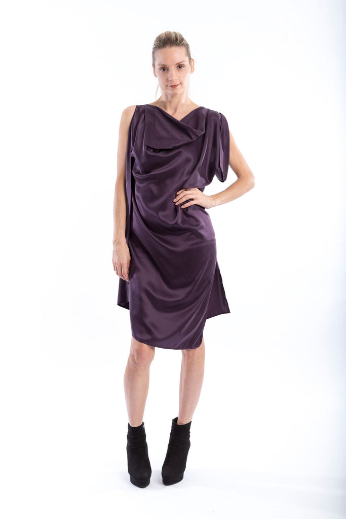 Brushed silk Origami Midi Dress