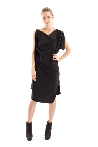 Drape Dress in Black knit