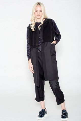 Mix Media Long Corset Vest Black