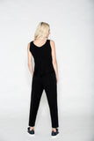 Ankle Zip Trouser Black Crinkled