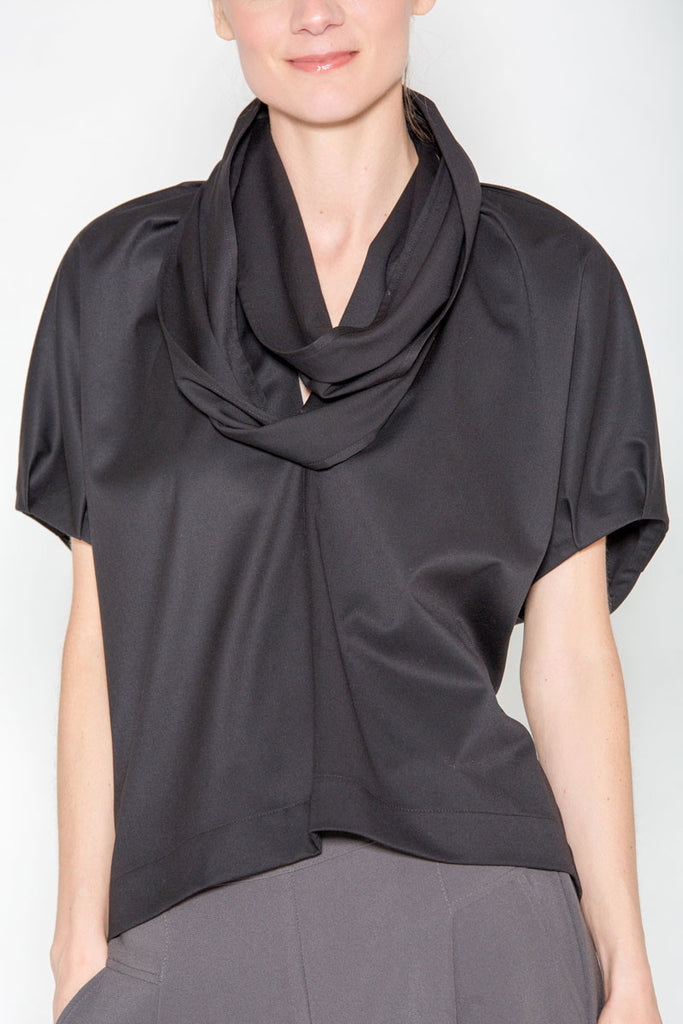 Infinity Collar Top Black Gabardine