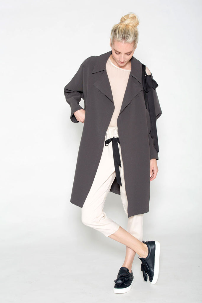 Slit Shoulder Ribbon Car Coat Gunmetal
