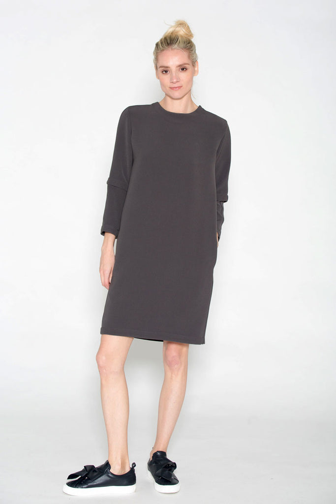 Pocket Shift Dress Gunmetal