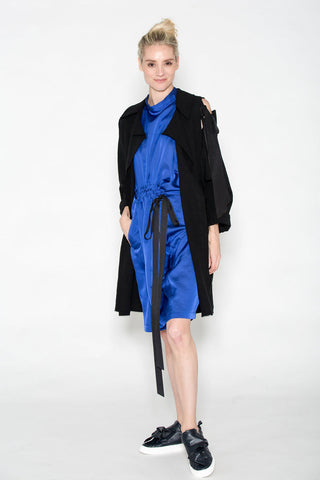 Slit Shoulder Ribbon Car Coat Black Crinkled