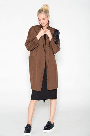 Slit Shoulder Ribbon Car Coat Bronze