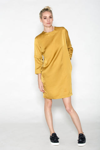 Pocket Shift Dress with Gathered Back Gold