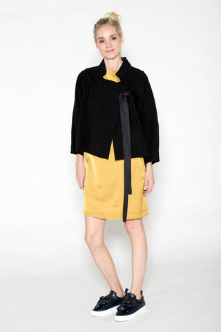 Drawstring Jacket Black Crinkled