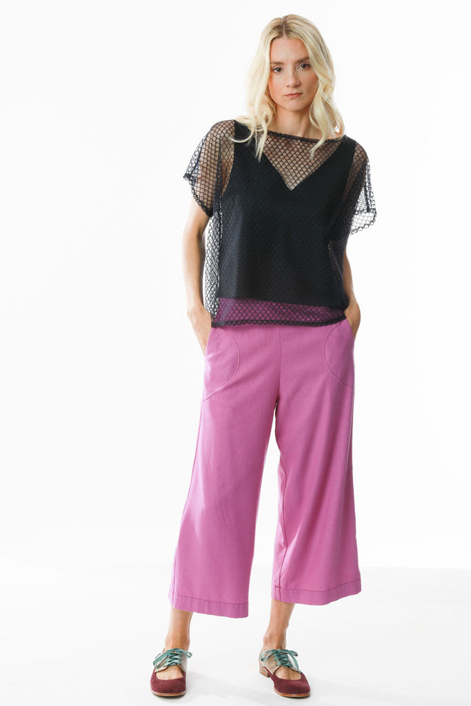 Side Zip Culottes Peony