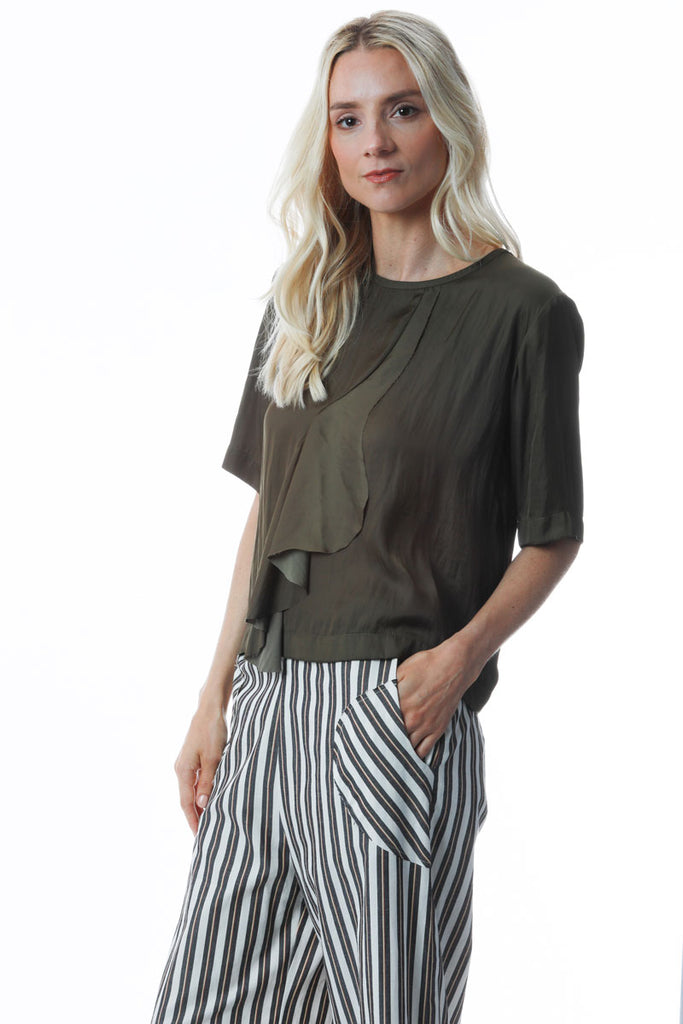 Ruffle Top Olive Vintage