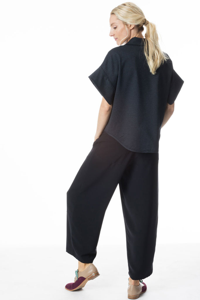 High Waisted Pants Navy Micro