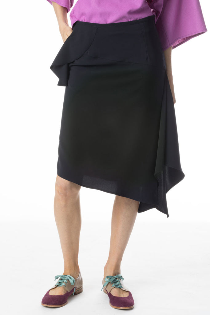 Ruffle Pocket Skirt Navy Micro