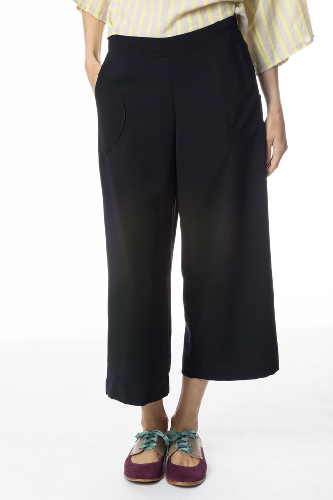 Side Zip Culottes Navy Micro