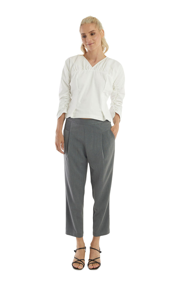 Load image into Gallery viewer, Grey Herringbone Ankle Signature Trousers