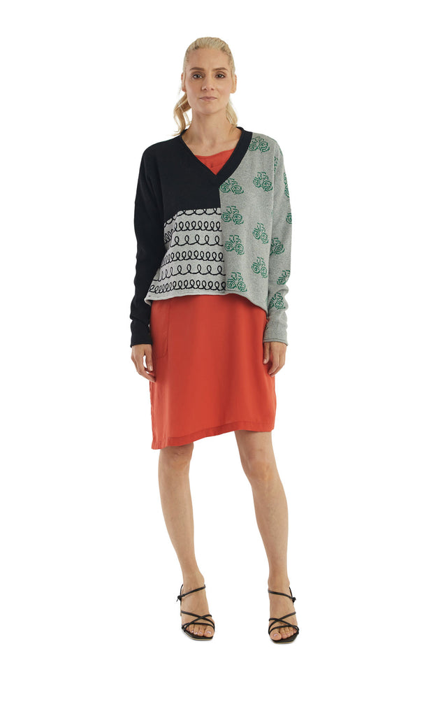Black Grey Mix Pattern V-Neck Pullover