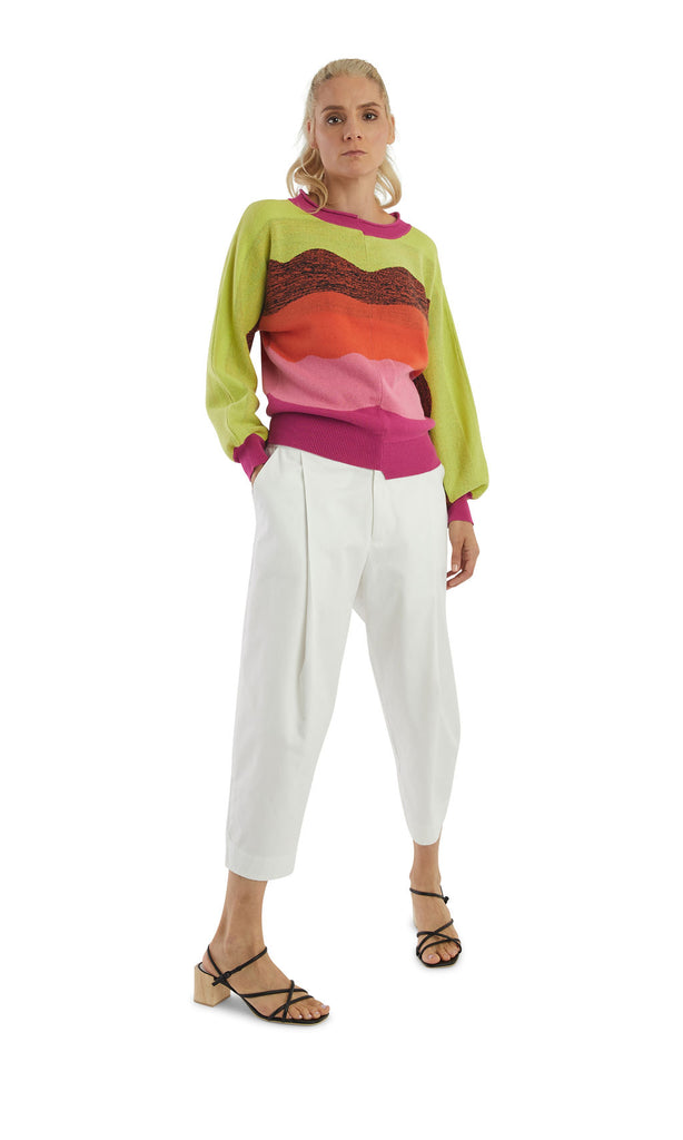 Fuschia Yellow Stripes Dolman Pullover