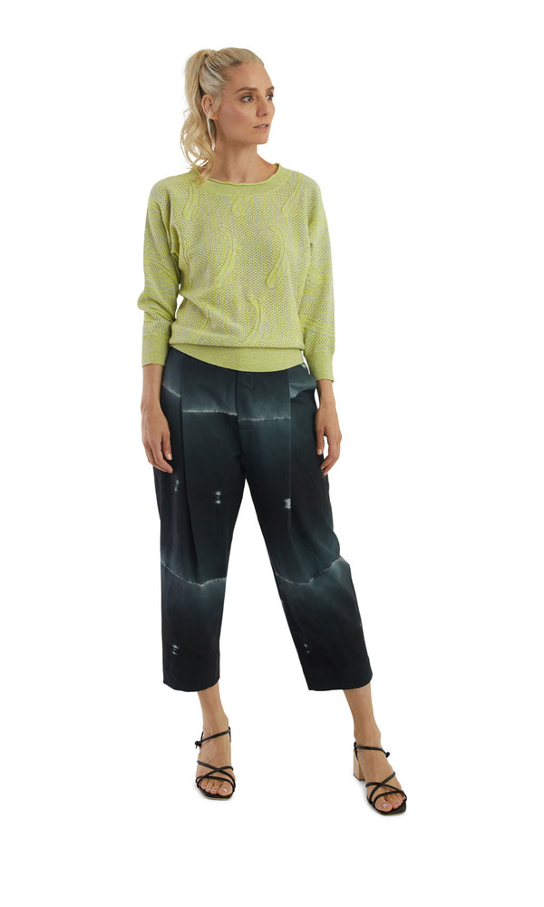 Ink Shibori Tuck Trousers