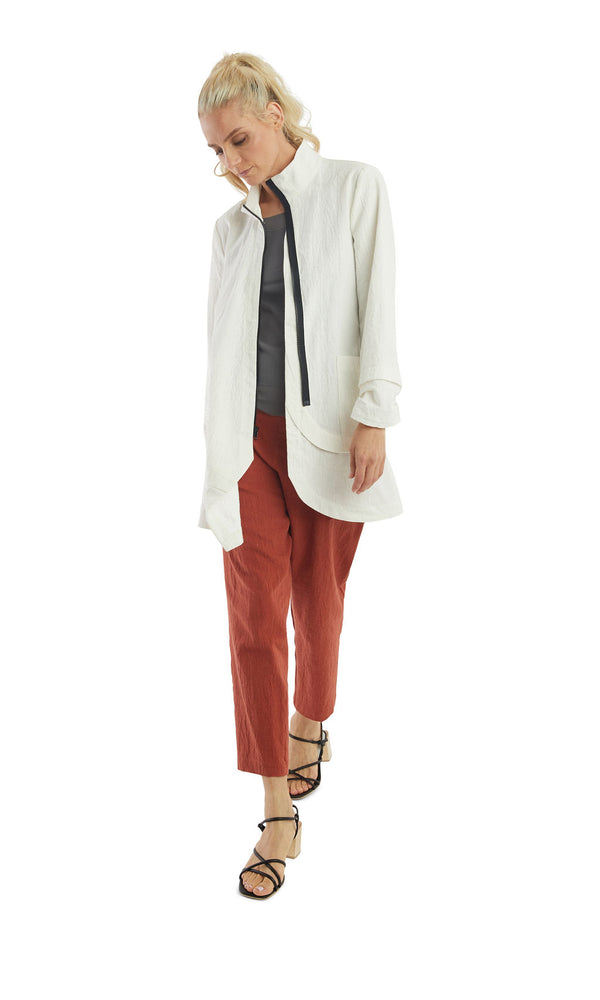 Crinkled White Zip Long Jacket