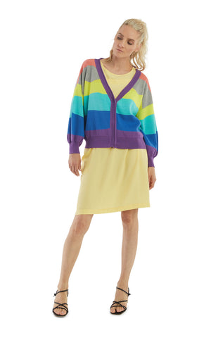 Purple Azure Stripes Bishop Sleeves Cardigan