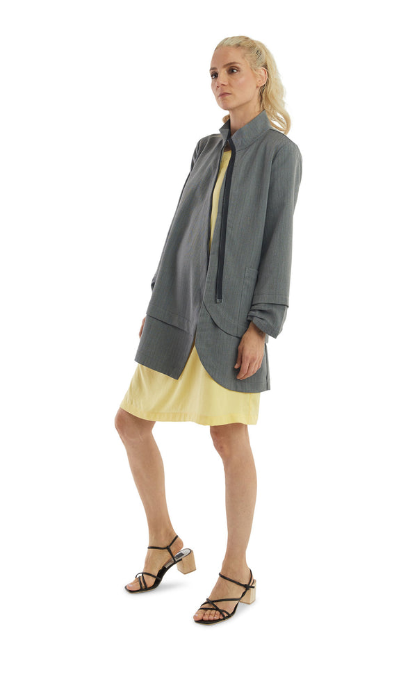 Grey Herringbone Zip Long Jacket