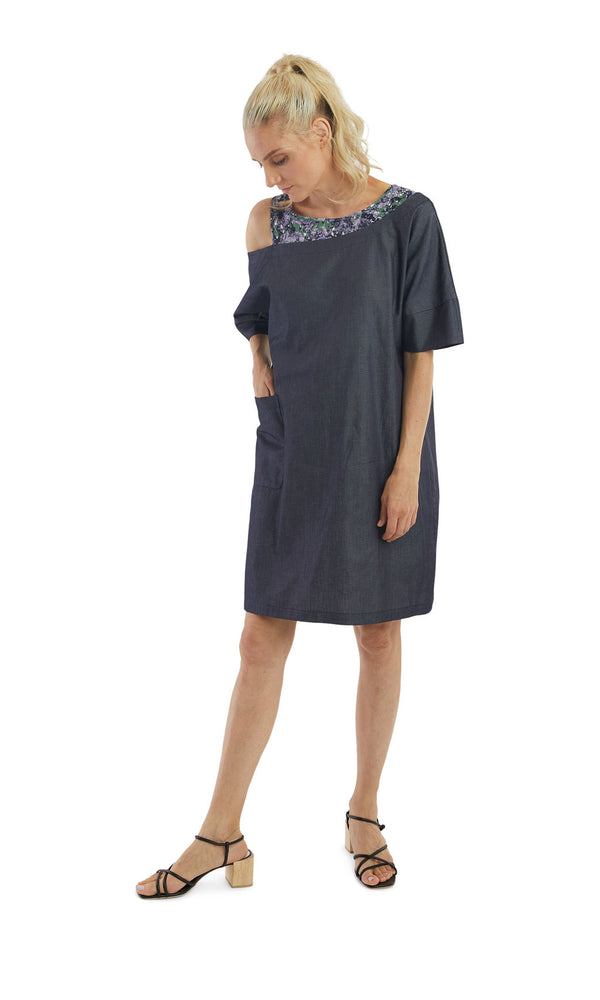 Mix Media Chambray Off Shoulder Dress