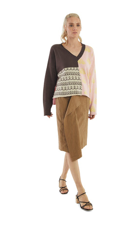 Pink Brown Mix Pattern V-Neck Pullover